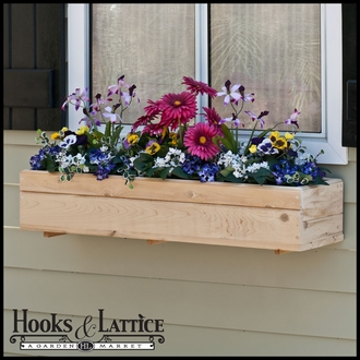 "50"" Standard Cedar Wood Window Box Incl. Back Cleat Mounting Bracket"