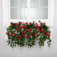 24in. Window Box Recipe - Outdoor Artificial Morning Glory Vines
