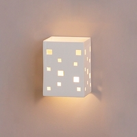 "6.5"" Block Sconce w/ Scattered Geometric Cut Outs"
