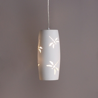 6in. Convex Cylinder Pendant Light w/ Dragonflies