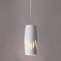 "6"" Convex Cylinder Pendant Light w/ Vertical Line Patter"
