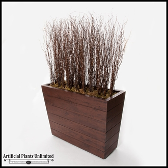 6'L x 6'H Curly Willow Screen in Madera Fiberglass Planter