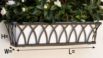 "60"" Arch Decora Window Box with White Galvanized Liner"