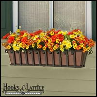 60in. Venetian Decora Window Box w/ Textured Bronze Liner (Hammered Finish)