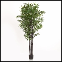 67in. Black Bamboo Cluster in Weighted Base, Outdoor Rated