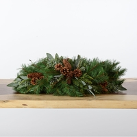 6ft Artificial Mixed Pine Mantelpiece w/ Pine Cones