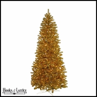7.5 ft Gold Tinsel Pre-Lit Artificial Christmas Tree w/ Clear Lights