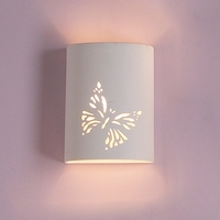"7"" Ceramic Cylinder Sconce w/ Butterfly Graphic"