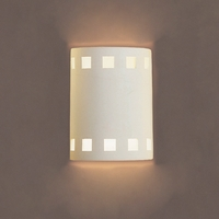 "7""  Cylinder Sconce w/ Square Pattern Border"