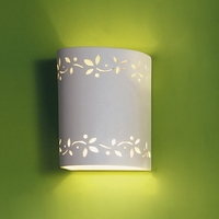 "7"" Leaflet Themed Ceramic Cylinder Sconce"