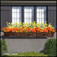 "72"" Medallion Decora Window Boxes w/ Oil-Rubbed Bronze Galvanized Liner"