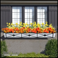 "72"" Medallion Decora Window Boxes w/White  Galvanized Liner"