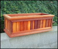"72"" Redwood Framed Slatted Window Planter with Easy UP Cleat"