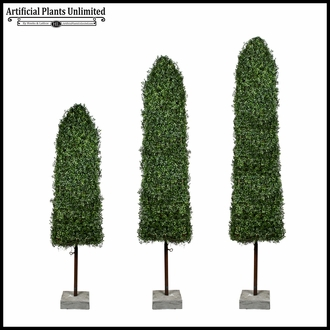 6' Boxwood Obelisk Topiary with Concrete Base - Outdoor