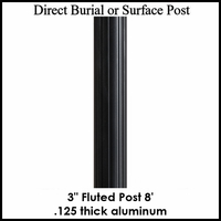 8' Fluted Aluminum Post, powder coated black