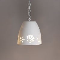 "9.5""  Tumbler Ceramic Pendant Light w/ Seashells"