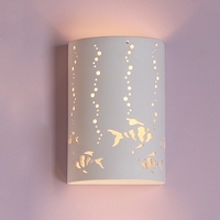 "9"" Bubbly Beta Fish Themed Ceramic Sconce"