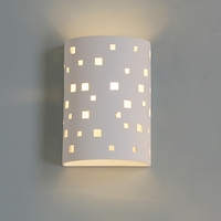 "9""  Ceramic Cylinder Sconce w/ Contemporary Square Pattern"