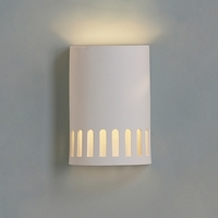 "9""  Ceramic Cylinder Sconce w/ Contemporary Windows"