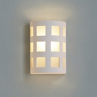 "9""  Ceramic Cylinder Wall Sconce w/ Large Square Pattern"