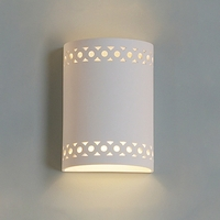 "9""  Cylinder Sconce w/ Symmetrical Circle Borders"