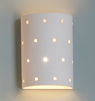 "9"" Cylinder Wall Sconce w/ Small Square Pattern"