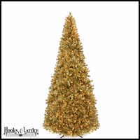 9 ft Gold Tinsel Pre-Lit Artificial Christmas Tree w/ Clear Mini Lights