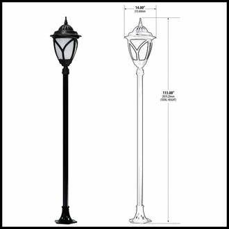 Acorn Theme Street Lamp Post Fixture - 120v - Powder Coated Cast Aluminum