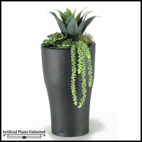 Agave and Echeveria in Tall Resin Planter, 27 in.