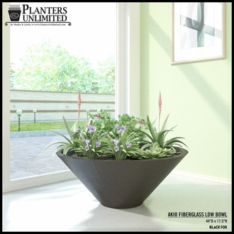 "Akio Fiberglass Low Bowl Planter 31.5""D x 10.5""H"