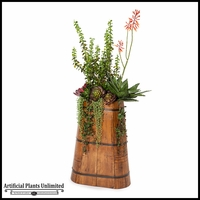 Aloe and Money Plant in Tall Rustic Wood Planter 20inLx10inWx54inH