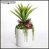 Aloe and Succulent Mix in Modern Round Fiberglass Planter 18inDx36inH