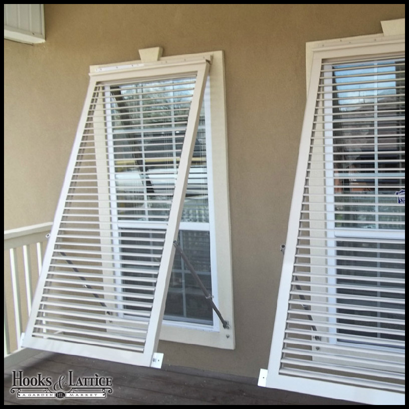 Aluminum bahama shutters exterior bermuda shutters hooks lattice for Home depot exterior vinyl window shutters