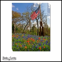 American Flag in Flower Field - Canvas Artwork