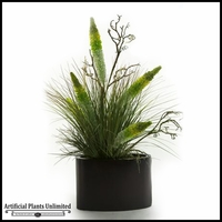 Antheriums Mixed with Grasses in Oval Metal Planter, 36 in.