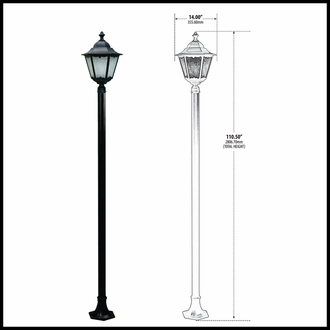 Antique Aluminum Lantern Lamp Post Fixture - 120v - Aluminum Outdoor Lighting