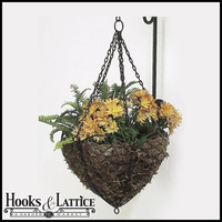 Antique Bronze Colored Scalloped Edge French Wire Hanging Basket With Vertical Wall Bracket