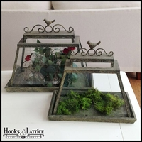 Antique-Style Terrariums with Bird Detail, Set of 2