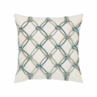 Aqua Rope Outdoor Rated Decorative Pillow