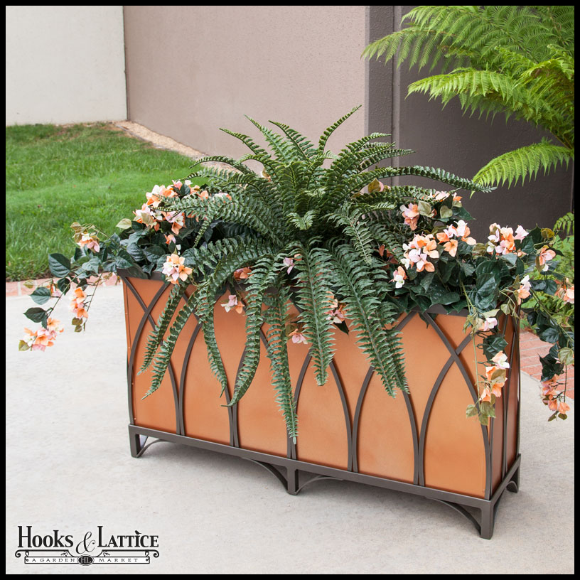 Arch Cage Wrought Iron Planter Click To Enlarge