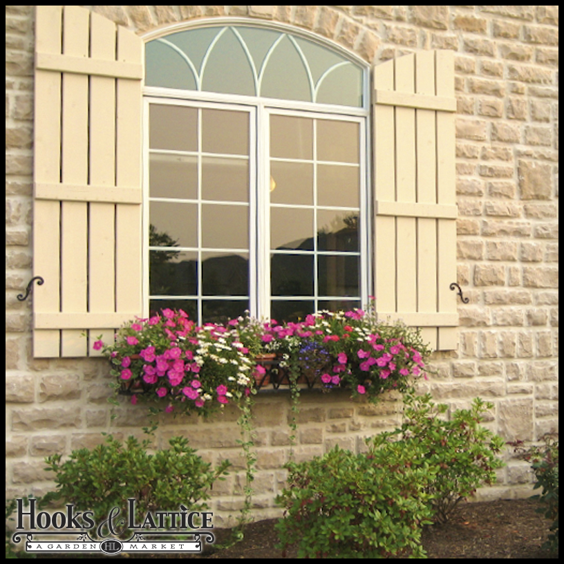 Arched shutters exterior window shutters by hooks lattice for Best exterior windows