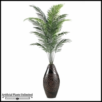 8' Areca Palm in Tall Metal Floor Vase
