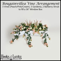 Artificial Bougainvillea & Gardenia for Window Boxes - Peach/Pink/Cream