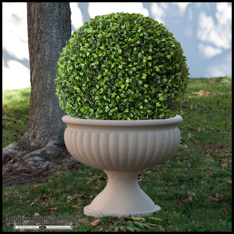 artificial boxwood ball and urn | artificial plants unlimited