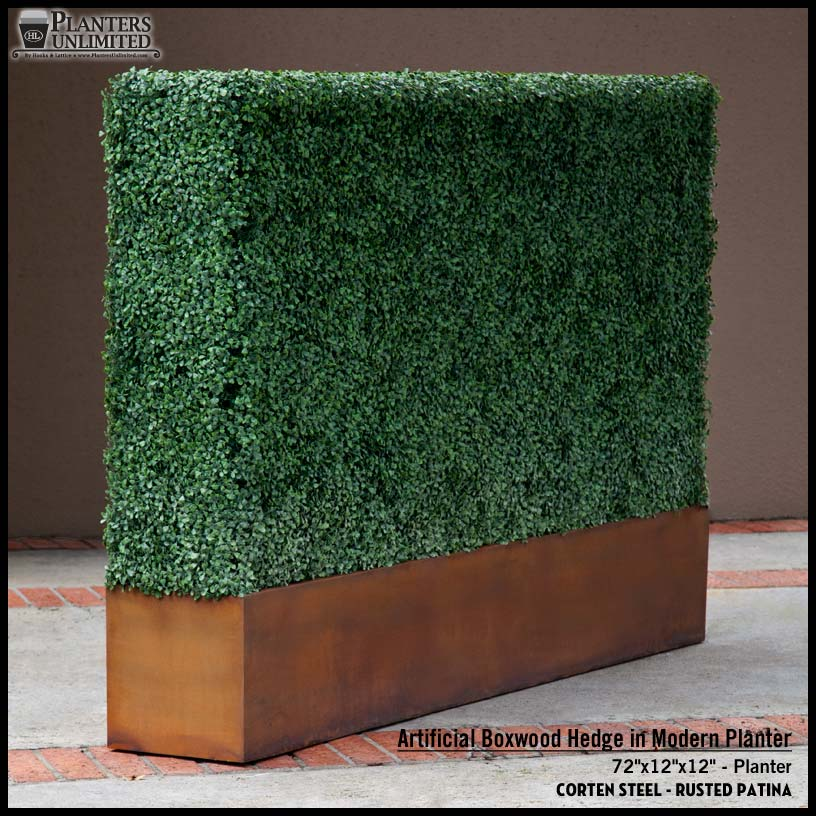 Super Artificial Boxwood Hedge Planter with Corten Steel Finish TY67
