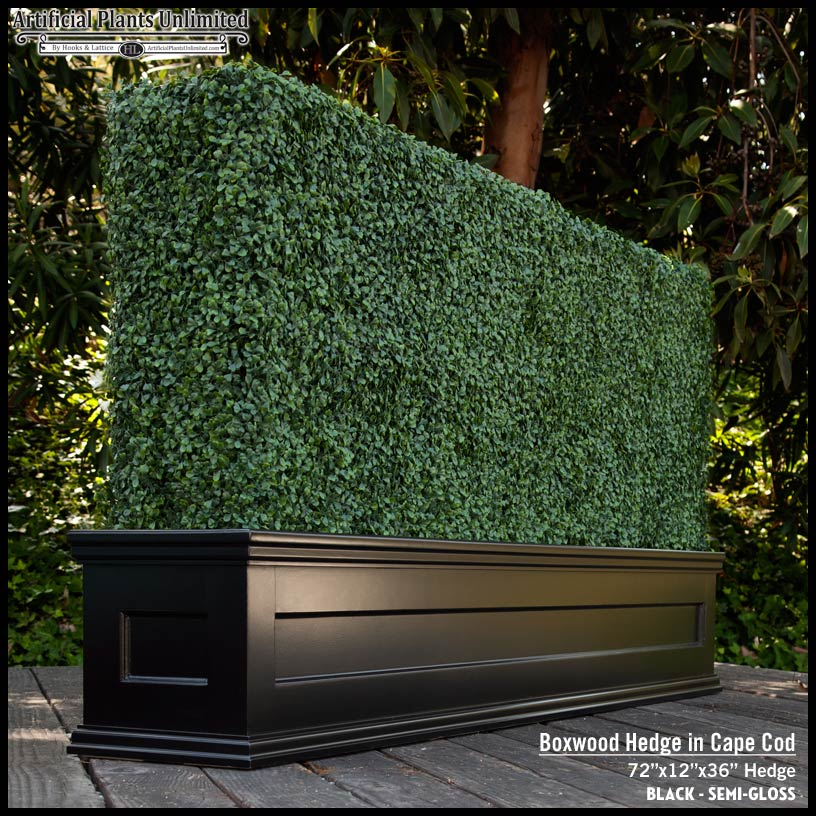 Artificial boxwood in cape cod hedge planter for Tall planters for privacy