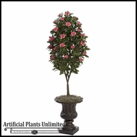 4.5' Artificial Flowering Pink Gardenia Topiary