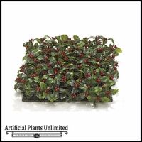 Artificial Holly Mat Squares - Dark Red / Green