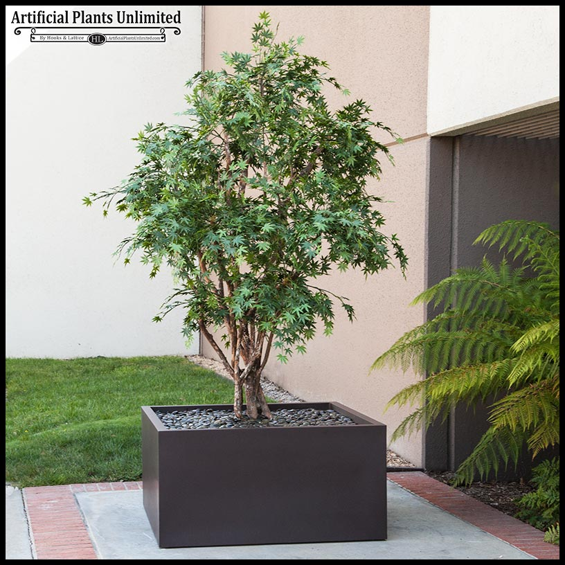 10' artificial japanese maple tree in modern fiberglass planter Artificial Outdoor Trees