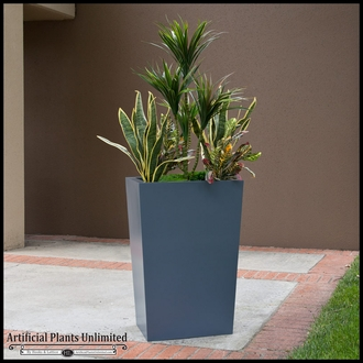 Artificial Yucca & Croton Bushes in a Modern Tapered Planter